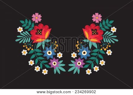 Collar Embroidery Floral Design With Wildflowers. Stitching Detail Tribal Necklace With Flowers Isol