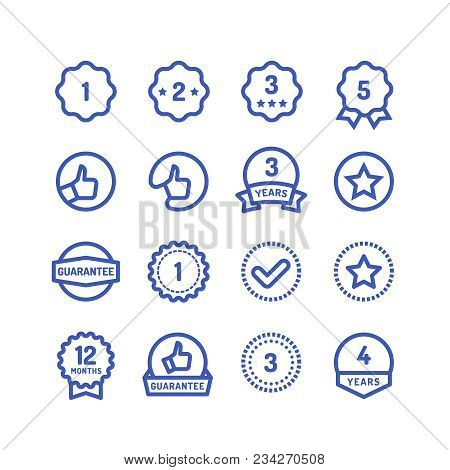 Warranty Stamps Line Icons. Goods Durability Guarantee Circular Vector Symbols Isolated. Illustratio