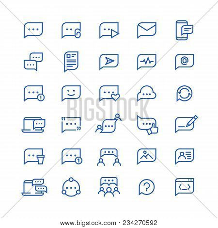 Conversation Message Shapes, Dialogue Speech Bubble Icons. Chatting Phone Vector Line Symbols. Chat