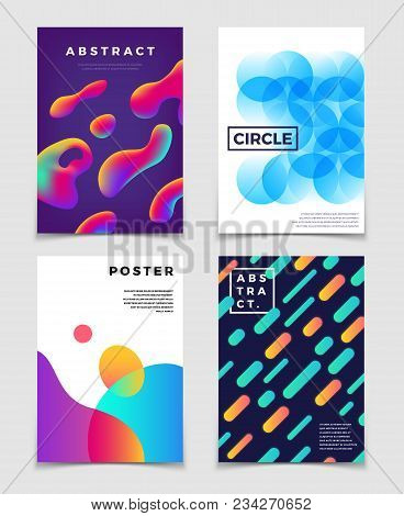 Modern Colorful Abstract Backgrounds With Dynamic Shapes. Music Cover And Poster Vector Design. Grad
