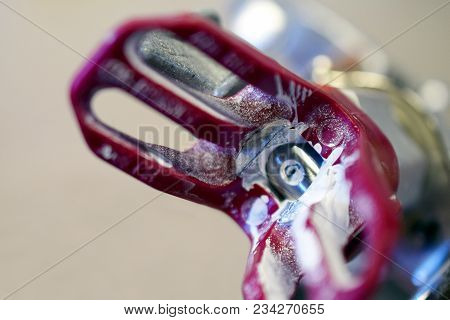 Close Up Of Used Airless Spray Gun. Horizontal Industrial Background Image With Space For Text.