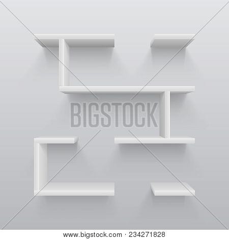 White plastic 3d shelves with light shadow on wall. Simplicity in interior design vector illustration. Bookshelf for gallery, interior furniture for wall poster