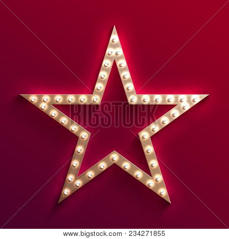 Hollywood Film Star With Light Bulb Marquee. Retro Gold Movie Frame. Casino Light Vector Sign. Star
