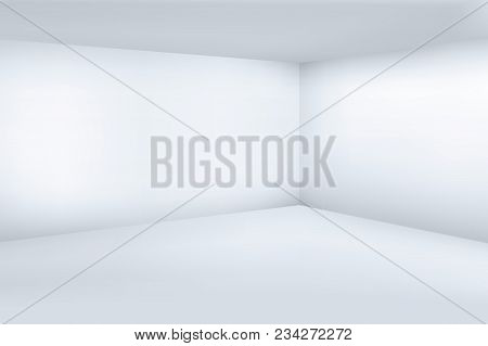 Empty White 3d Modern Room With Space Clean Corner Vector Illustration. Space Room Interior, Empty F