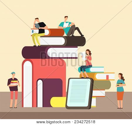 Man And Woman Reading Books. People And Book Creative Idea Cartoon Flat Concept. Book Festival Vecto