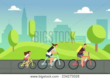 Happy Family On Bicycles. Healthy Summer Cycling With Kids In Park. Active People Ride Bike. Sports