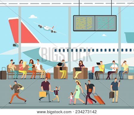 International Airport Terminal With Sitting And Walking People. Men And Women, Families With Kids Go