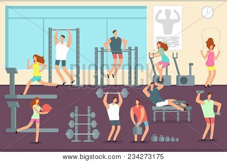 Woman And Man Doing Various Sports Exercises In Gym. Fitness Indoor Workout Vector Concept. Gym And