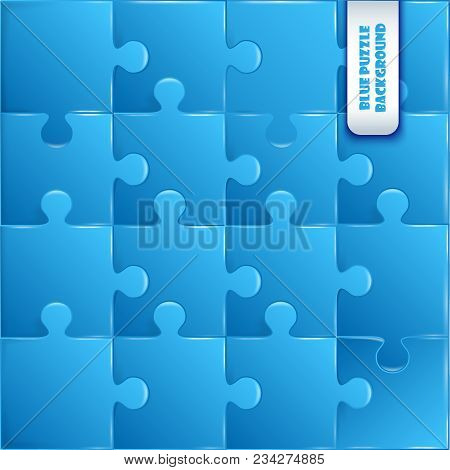 Blue Plastic Pieces Puzzle Game Complete Background