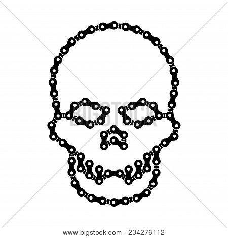 Vector Human Skull Made Of Bike Or Bicycle Chain. Vector Cranium Or Death's Head Symbol. Black Bike