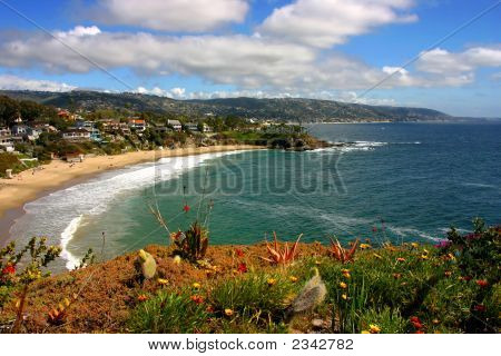 A view of Crescent Bay in South Laguna Beach California. poster
