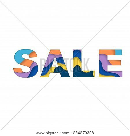 Word Sale With Cut Paper Waves Words Different Colors Isolated On White Background