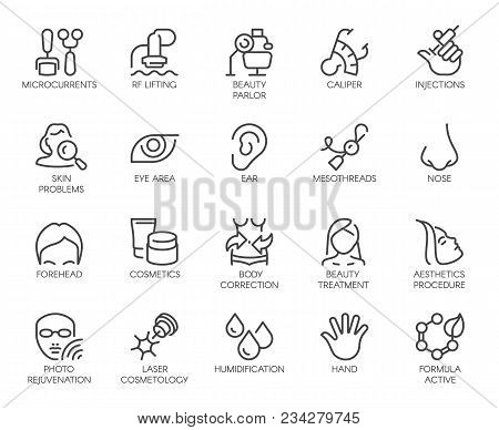 Cosmetology Line Icons Set. 20 Outline Pictograms Isolated. Beauty Therapy, Bodycare, Healthcare, We