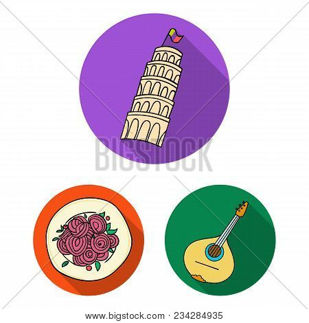 Country Italy Flat Icons In Set Collection For Design. Italy And Landmark Vector Symbol Stock  Illus