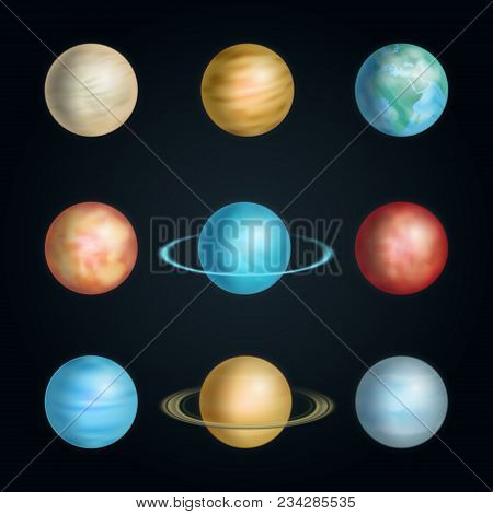 Realistic 3d Detailed Solar System Planet Set On A Black Background Include Of Earth, Saturn, Jupite
