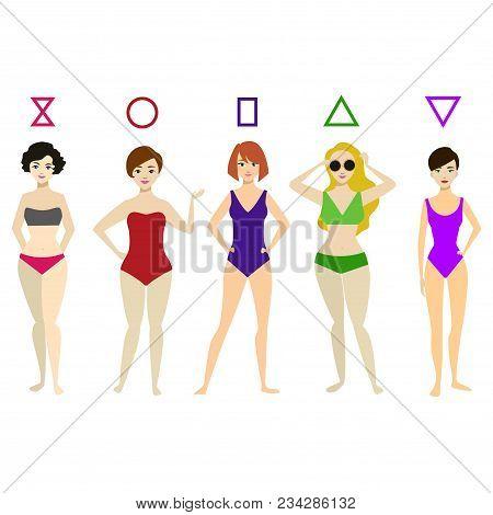 c4c7a7cb9c6 Cartoon Woman Body Shape Different Types Set Concept Element Flat Design  Style. Vector Illustration