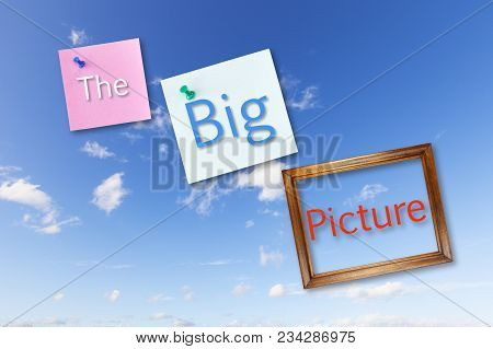 The Big Picture- Post It Notes And A Picture Frame On A Blue Sky With The Words The Big Picture