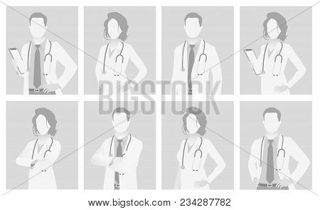 Default placeholder doctor half-length portrait photo avatar.  Gray color poster