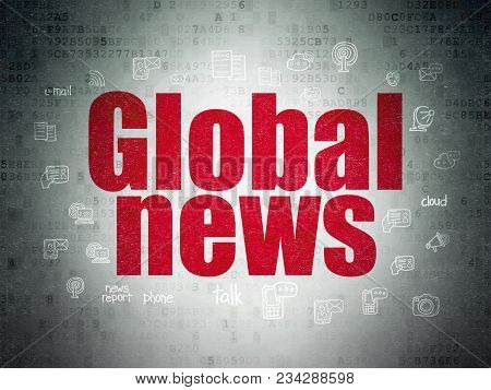 News Concept: Painted Red Text Global News On Digital Data Paper Background With  Hand Drawn News Ic
