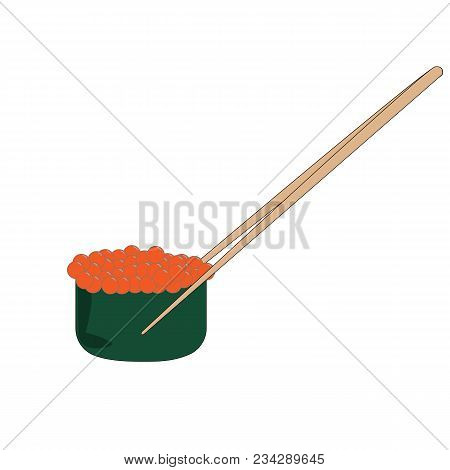Sushi Salmon Roe For Lunch Icon. Cartoon Illustration Of Sushi Set And Chopsticks For Lunch Vector.