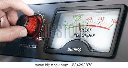 Fingers Turning An Optimization Knob To Reduce The Cost Per Order Of An Advertising Campaign. Compos