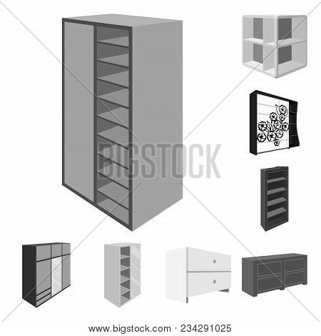 Bedroom Furniture Monochrome Icons In Set Collection For Design. Modern Wooden Furniture Isometric V