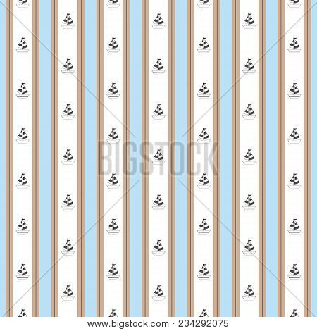 Stripe Nautical Blue Brown With Boat Pattern. A Vintage, Modern, And Flexible Pattern For Brand Who