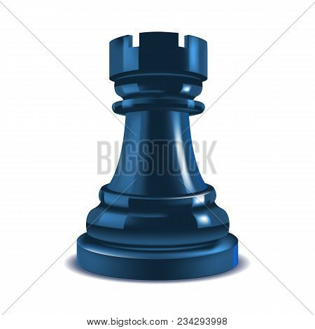 Realistic 3d Chess Rook Closeup View Gaming Figure For Strategic Business Game Or Hobby Leisure. Vec