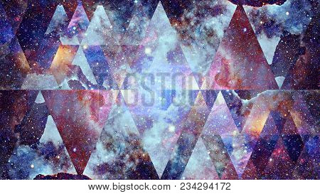 Image Of The Nebula, Galaxy And The Sacred Geometry Collage. Abstract Cosmos. Elements Of This Image