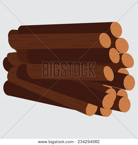 Pile Of Logs Vector Firewood Stacked In Piles Against The White Background