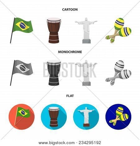 Brazil, Country, Flag, Drum . Brazil Country Set Collection Icons In Cartoon, Flat, Monochrome Style