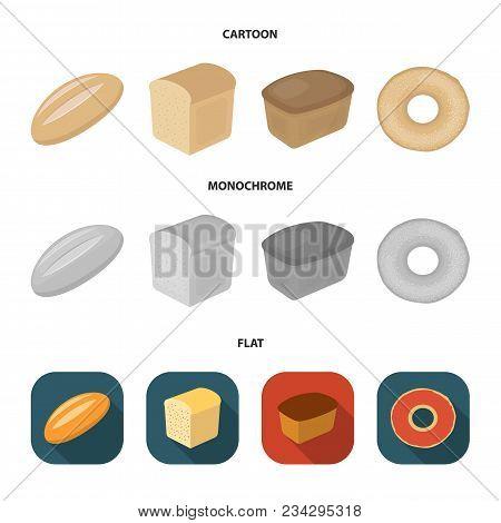 Loaf Cut, Bagel, Rectangular Dark, Half A Loaf.bread Set Collection Icons In Cartoon, Flat, Monochro