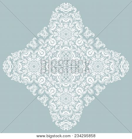 Oriental Vector Blue And White Pattern With Arabesques And Floral Elements. Traditional Classic Orna