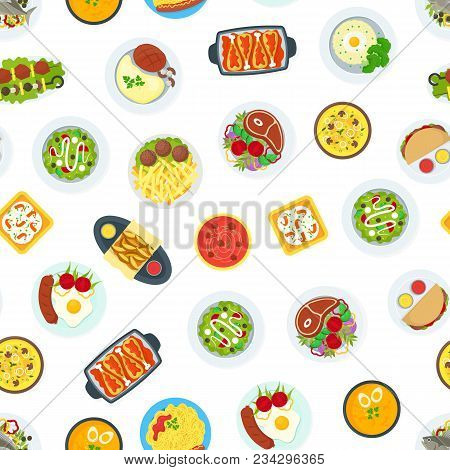 Cartoon Home Cooking Healthy Foods Dishes Menu Seamless Pattern Background On A White Kitchen Concep