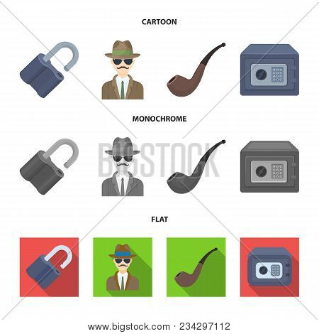 Lock Hacked, Safe, Smoking Pipe, Private Detective.detective Set Collection Icons In Cartoon, Flat,