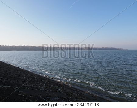 Lakeside Landscapes Of Artificial Water Goczalkowice Reservoir In Poland Seen From Barrage With Wate