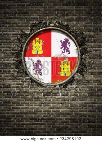 3d Rendering Of A Spanish Castilla Leon Community Flag Over A Rusty Metallic Plate Embedded On An Ol