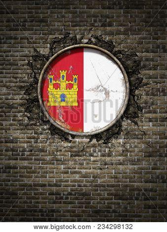 3d Rendering Of A Spanish Castilla La Mancha Community Flag Over A Rusty Metallic Plate Embedded On