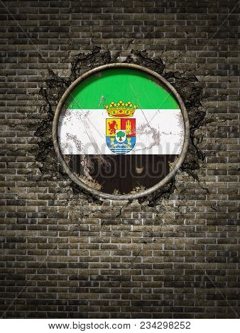 3d Rendering Of A Spanish Extremadura Community Flag Over A Rusty Metallic Plate Embedded On An Old