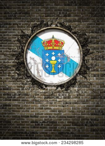 3d Rendering Of A Spanish Galicia Community Flag Over A Rusty Metallic Plate Embedded On An Old Bric