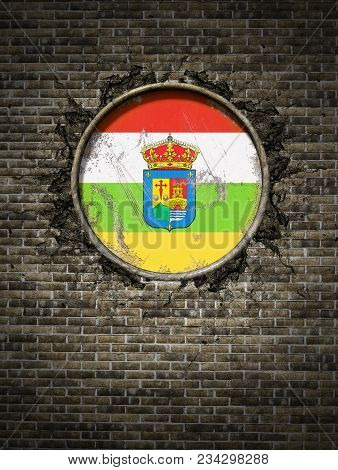 3d Rendering Of A Spanish La Rioja Community Flag Over A Rusty Metallic Plate Embedded On An Old Bri