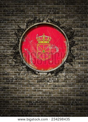 3d Rendering Of A Spanish Navarra Community Flag Over A Rusty Metallic Plate Embedded On An Old Bric
