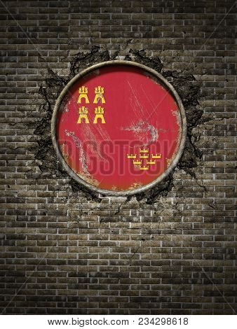3d Rendering Of A Spanish Murcia Community Flag Over A Rusty Metallic Plate Embedded On An Old Brick