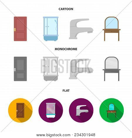 Door, Shower Cubicle, Mirror With Drawers, Faucet.furnitureset Collection Icons In Cartoon, Flat, Mo