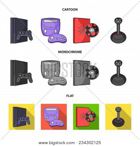 Game Console, Joystick And Disc Cartoon, Flat, Monochrome Icons In Set Collection For Design.game Ga