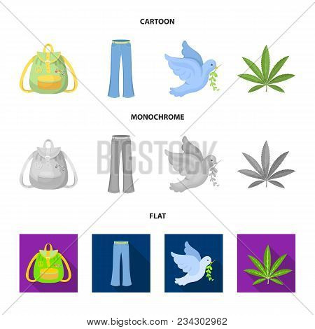 A Cannabis Leaf, A Dove, Jeans, A Backpack.hippy Set Collection Icons In Cartoon, Flat, Monochrome S