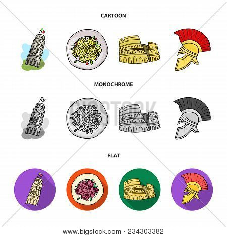 Pisa Tower, Pasta, Coliseum, Legionnaire Helmet.italy Country Set Collection Icons In Cartoon, Flat,