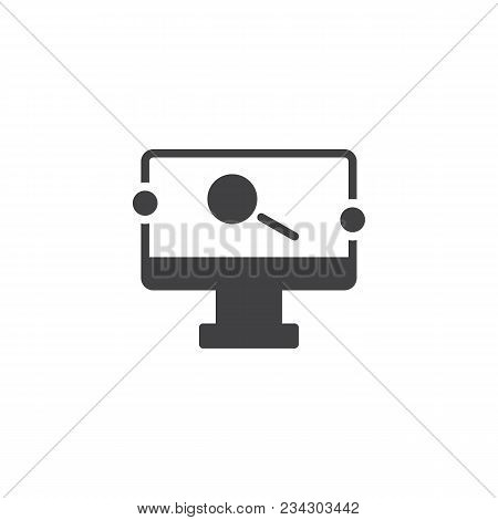 Monitor With Magnifying Glass On Screen Vector Icon. Filled Flat Sign For Mobile Concept And Web Des