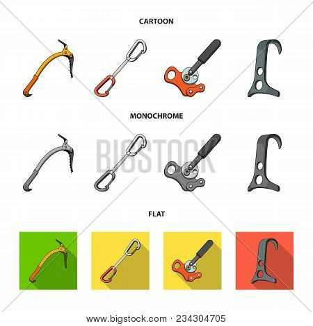 An Ice Ax, A Carbine And Other Equipment.mountaineering Set Collection Icons In Cartoon, Flat, Monoc