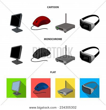 Monitor, Mouse And Other Equipment. Personal Computer Set Collection Icons In Cartoon, Flat, Monochr